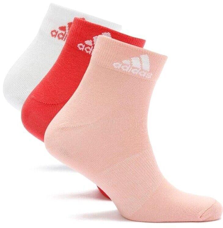 3 Paar Adidas Damen Logo Socken Laufsocken Tennis Sport Socks weiß rot