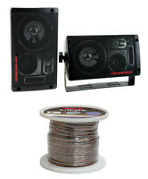 2) Pyramid 2060 300w 3-way Car/home Audio Mini Box Speakers + 14 Gauge Wire on sale