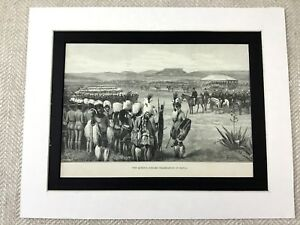 Antico-Stampa-Natal-South-Africa-Native-Warriors-Africano-19th-Secolo-Art