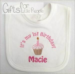 Image Is Loading Personalised Embroidered Baby Girls Bib 1ST BIRTHDAY Unique