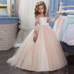 Blumenkind-Prinzessin-Kinder-Kleid-Party-Hochzeit-Maedchen-Kommunion-sofort-BC639