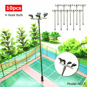 10pcs-Model-Railroad-Train-LED-Street-Light-HO-Scale-1-100-Lamps-Post-4-Heads