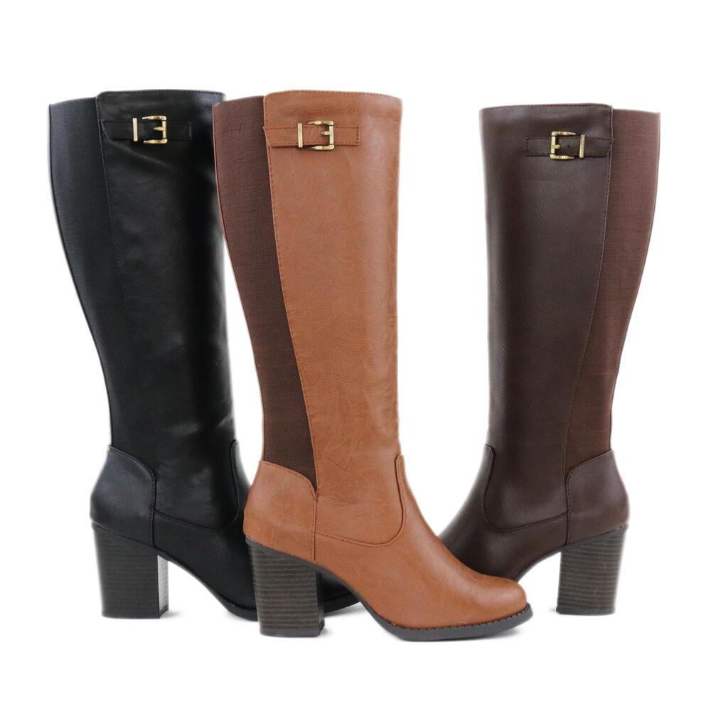"Trendy Elastic Insert Shaft Bronze Buckle 3"" Heel Knee High Boots Medium (B, M)"