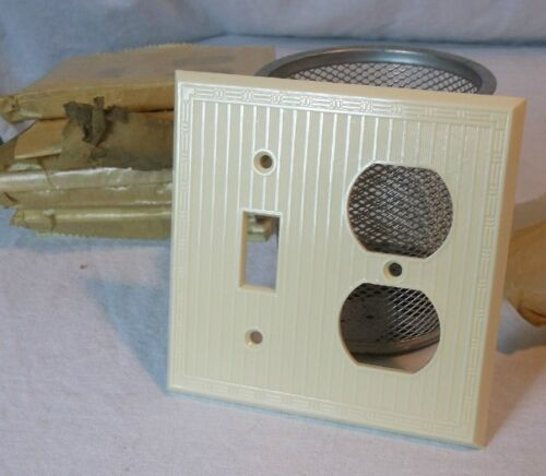 Ivory Bakelite Wall Switch//Outlet Combo Plate Vintage NOS Switchplate Art Deco