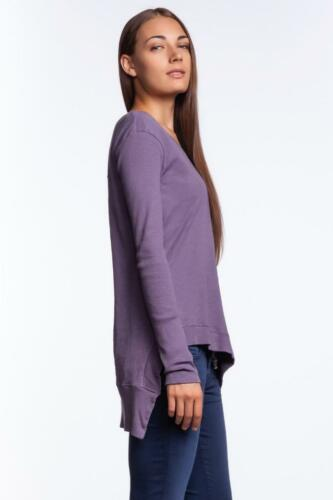 Wilt Uneven V Neck Shirt TRUNK 31121 Asymmetrical Uneven Slub Jersey Purple NEW