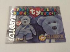 1999 TY BEANIE S3 GOLD! CARD INSERT CLUBBY THE BEAR II BUDDIES BOTH SIDEs #9991
