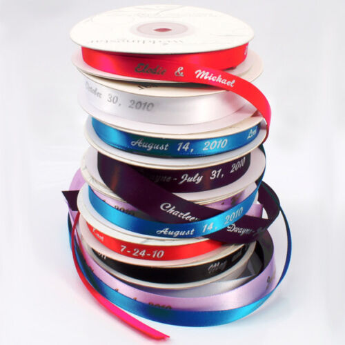 """Large Roll 3//8/"""" Wide Personalized Wedding Favor Ribbon"""