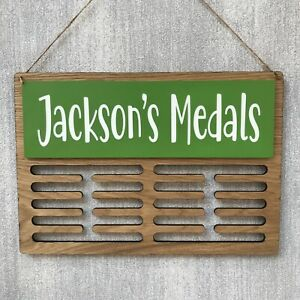 Medal Display Holder Hanger RUNNING Oak Acrylic Personalised ANY WORDING