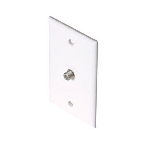 Eagle Coax Wall Plate F Type Jack White Single Coaxial Cable Outlet Cover. Available Now for 0.99