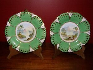 Antique-Pair-Hand-Painted-Landscape-Plates-w-Green-amp-Gold-Border-1830s-Ridgway