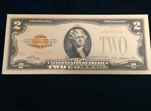 """/<MINT/> OLD STYLE /""""GOLD/"""" $10.00 GOLD CERTIFICATE Ten DOLLAR Rep.*Banknote W//COA~"""