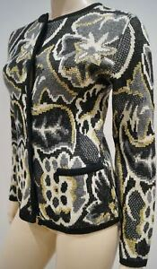 con in metallico lana motivo Cardigan grigio Adrienne color oro crema Vittadini misto qwAEnHEp1X