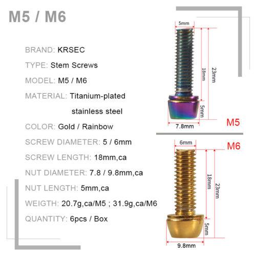 6PCS//Box Bolts MTB Stem Screws M5//M6 Road Bike Cycle Parts Titanium Plated Steel