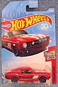 2018-Hot-Wheels-20-Then-and-Now-4-10-039-67-MUSTANG-Red-w-Black-MC5-Spoke-Wheels