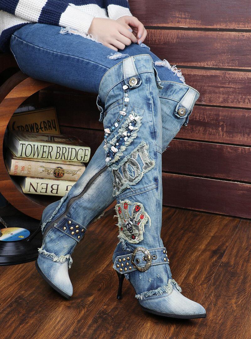 Nuevo Mujer Estrás Denim Cremallera Tacón Tacón Tacón Stiletto Puntera Puntiaguda la rodilla botas altas  presentando toda la última moda de la calle