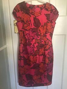 92292dcce7 Image is loading Hobbs-Silk-Leaf-Print-Dress-New-And-Unworn-