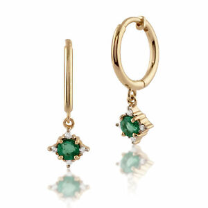 Gemondo-9ct-Yellow-Gold-0-28ct-Emerald-amp-Diamond-Hoop-Earrings