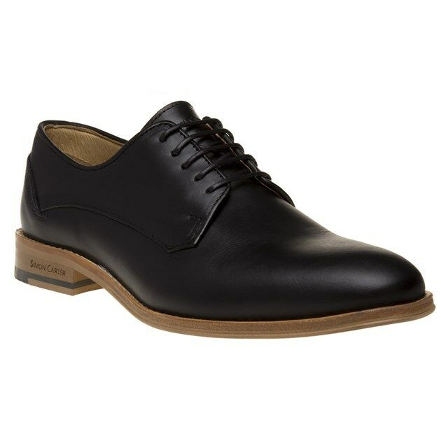 New Mens Simon Carter Black Britten Leather shoes Lace Up