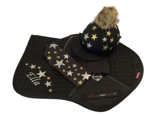 LeMieux Saddlecloth Black,Gold//Silver Cross Country Colours Horse Riding Set