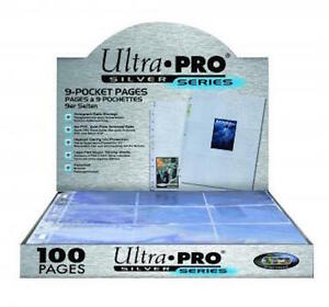 Ultra-Pro-9-Pocket-Pages-Clear-Trading-Card-Silver-Sleeves-Pokemon-MTG