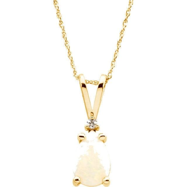 Australian Opal Pear 9 x 6 mm Cab & Diamond Pendant Necklace in 14K. Yellow Gold