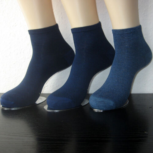 3 Paar Damen Bambus Sneaker Kurzstrumpf Socken Softrand 3 Blau Töne 35 bis 42