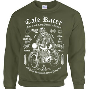 Cafe-Racer-Sweatshirt-Mens-Womens-Biker-rock-skull-motorcycle-bike-gift-jumper