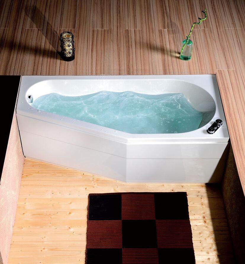 Badewanne 170x80 cm incl. Füße + Schürze + Ablauf + Befest. 80x170 46 cm tief R