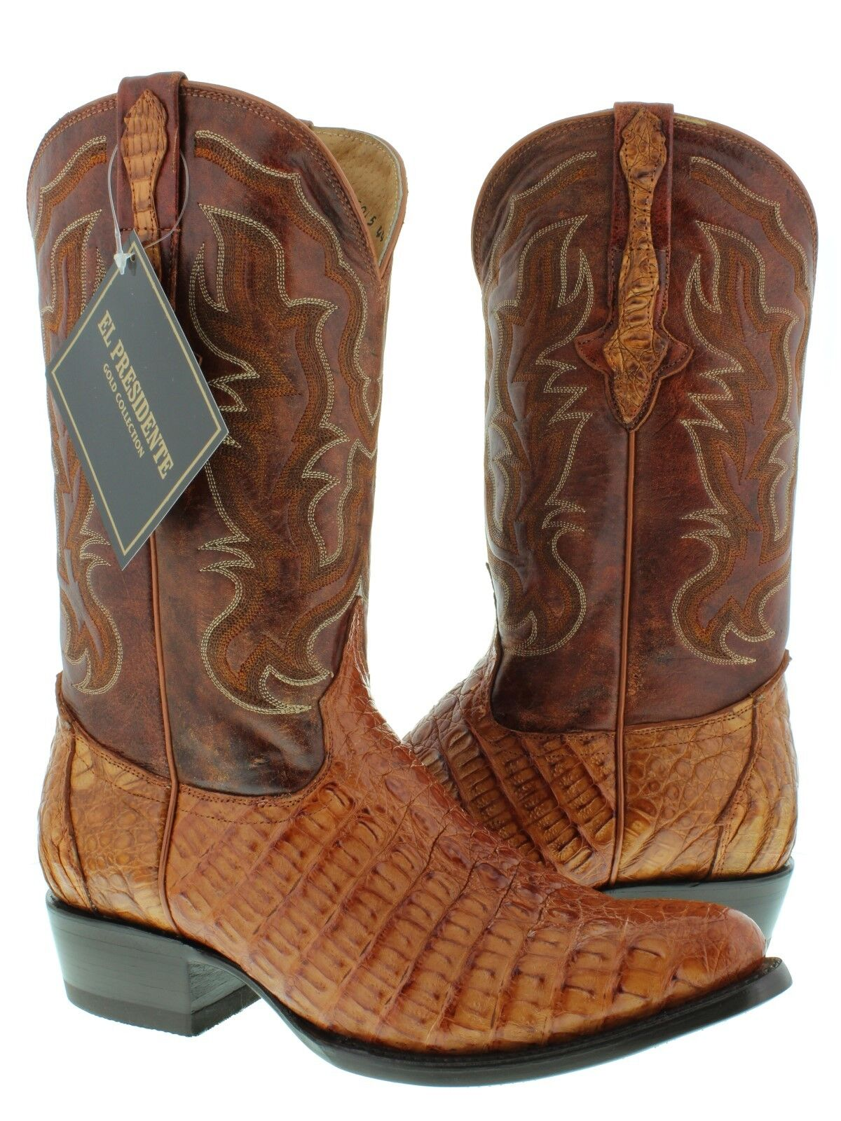 Mens Cognac Brown Genuine Crocodile Flank Leather Cowboy Boots Round Toe