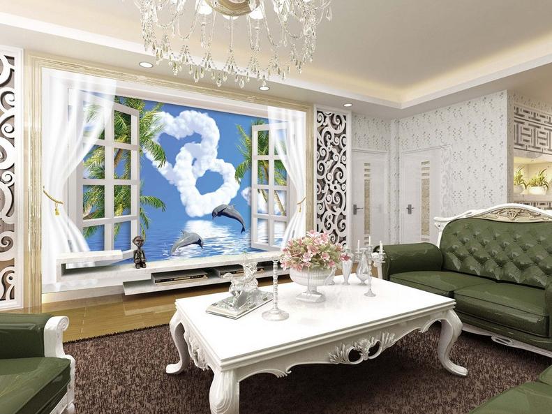 3D Wolken Dolphin Fenster 865 Tapete Wandgemälde Tapete Tapeten Bild Familie DE  | Modernes Design  | Nicht so teuer  | Großhandel