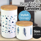 Blue Tribal Ceramic Canister S/L Container Coffee Tea Sugar Storage Stylish Jar