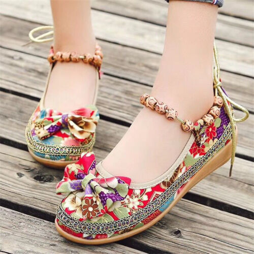 Women/'s Canvas Casual Flat Shoes Beaded Floral Round Toe Loafers Comfy Walking