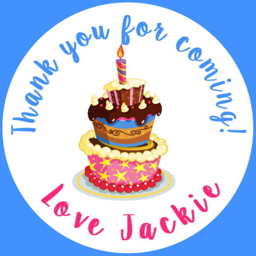 PERSONALISED GLOSS BIRTHDAY CAKE THANK YOU PARTY BAG STICKERS ANY AGE
