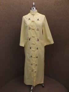 8e61c7ff40dc Details about Vtg High Class Himalaya Yellow Cotton Embroidered Kimono  Lounge Dress Robe M