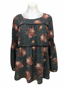 Knox-Rose-Women-s-Blouse-Black-Floral-Tie-Back-Tassel-Long-Sleeve-Top-Size-XL