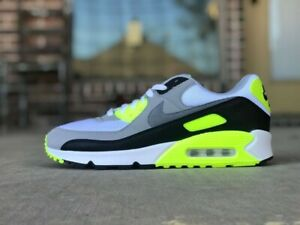 Nike-Air-Max-90-OG-Volt-White-Particle-Grey-Black-Mens-CD0881-103-size-10-no-lid