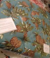 Pottery Barn Hawaiian Outdoor Dining Chair Cushion Tufted Pineapple Blue Pillow