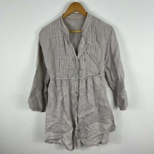 Made-In-Italy-Womens-Linen-Dress-S-M-AU-8-10-Grey-Long-Sleeve-V-Neck-Lagenlook