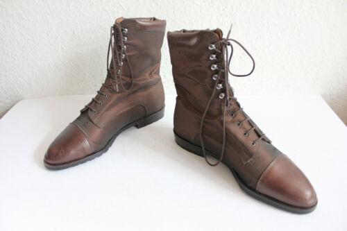 Vintage schnürstiefeletten Boots cuero auténtico y textil marrón eu:37-37, 5 uk:4, 5