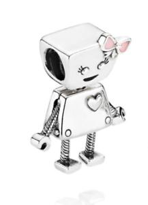 Sterling-Silber-s925-Bella-Bot-Roboter-Maedchen-Charme-beweglichen-Kopf-Beine-Haende-Etui