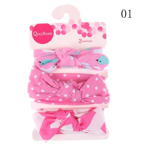 3Pcs//Set Baby Girls Kids Cotton Bowknot Headband Children Hair Band Headwea YT