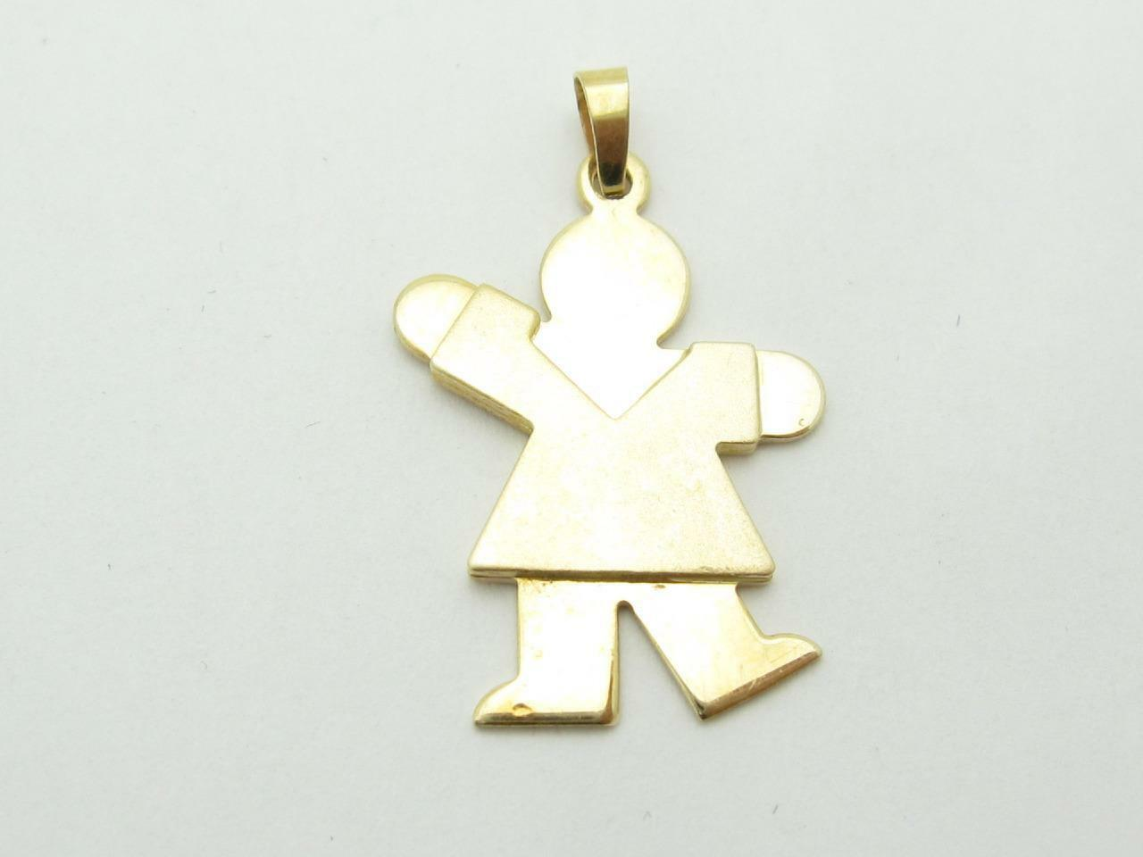 14kt Solid Yellow gold Unique Girl Charm Pendant With Dress Brushed Finish Gift