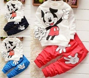 c275063e4 Outfits ! 2Pcs Baby Boys Girls Mickey Mouse Coat + Pants Set Kids ...