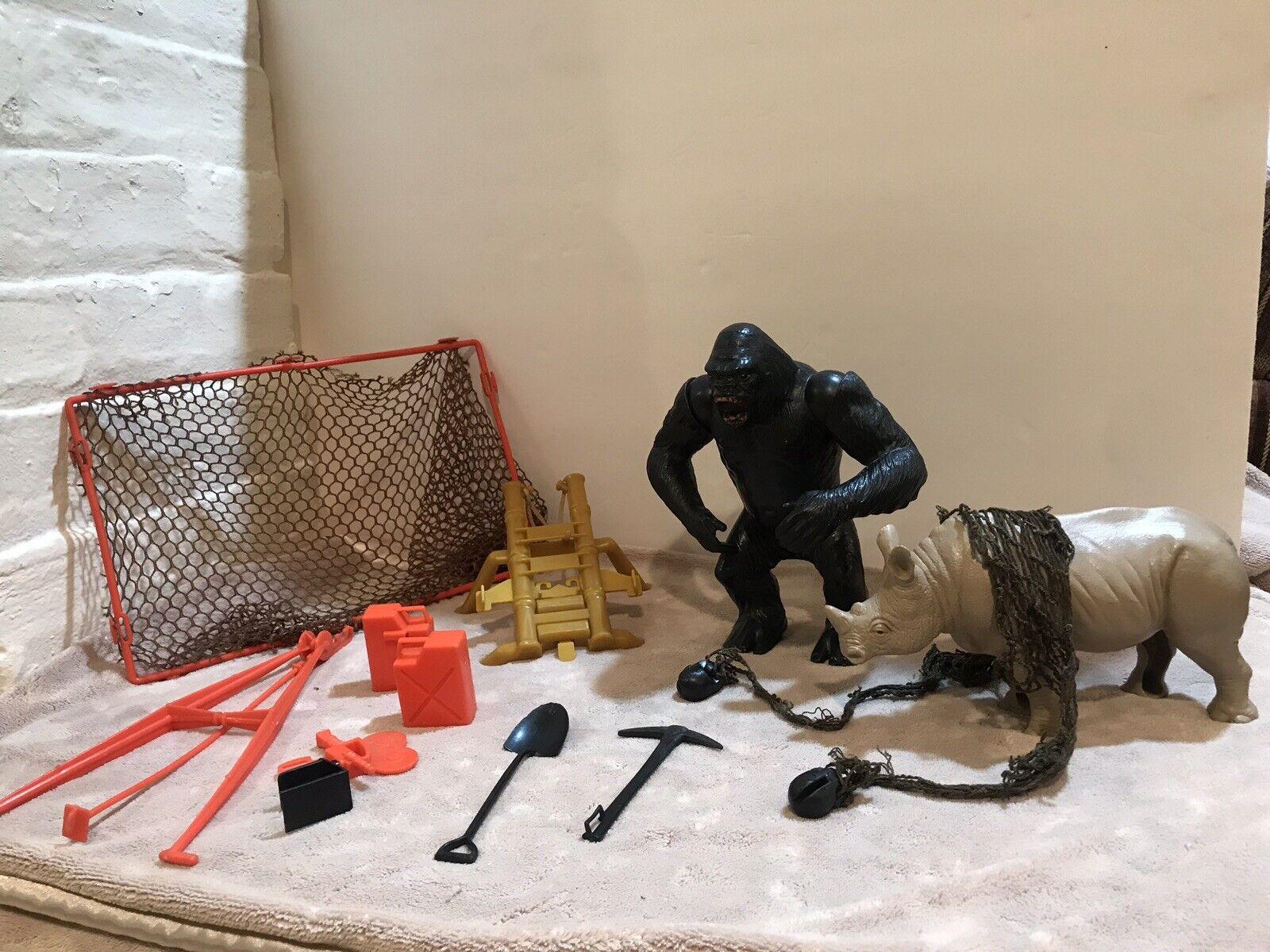 Vintage Mattel Big Jim Gorila De La Selva (Movimiento Brazos) Rhino-NET-Lanzador-latas de gas +