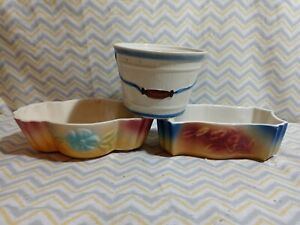 VINTAGE FLOWER POT  SHAWNEE colorful 2 plant planter and a grease bowl lot of 3