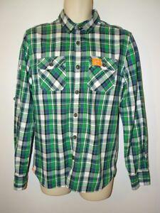 Para-hombre-de-Superdry-Lumberjack-Twill-de-Superdry-de-manga-larga-talla-M-marca-verde-azul