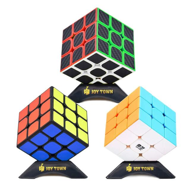 Roxenda Speed Cube Set Magic Cube Set Of 2X2X2 3X3X3 Pyramid Carbon Fiber Puzzl