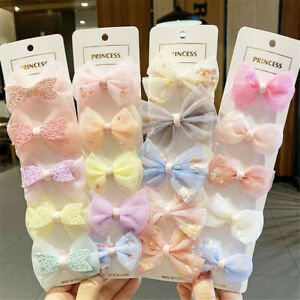 Lots-5Pcs-Kids-Net-Yarn-Hairpin-Bow-Ribbed-Cloth-Duckbill-Clip-Hair-Accessories