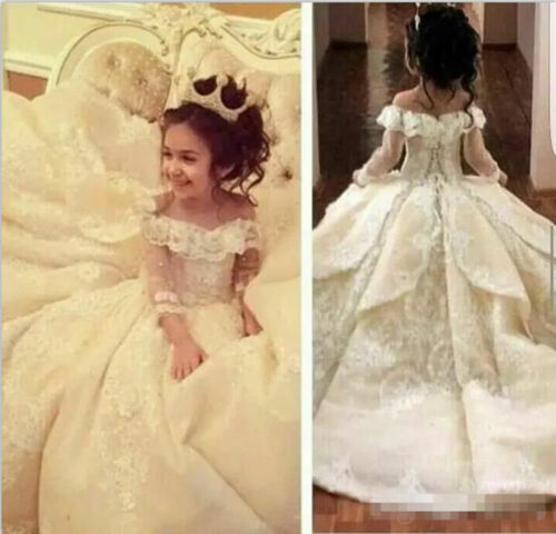 Little Princess Off Shoulder Lace Ivory Flower Girl Dress Birthday Party Gown