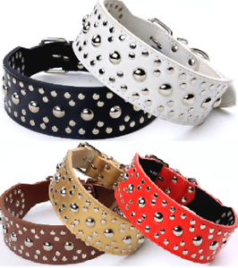 Studded-Spiked-Metal-Dog-Collage-Faux-Leather-Collar-Pitbull-Mastiff-BLACK-RED